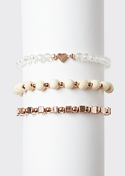 3-Pack White Beaded Heart Wish Bracelet Set