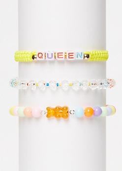 3-Pack Yellow Queen Wish Bracelet Set