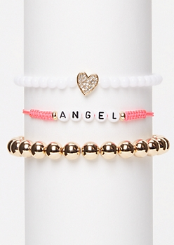 3-Pack Pink Angel Wish Bracelet Set