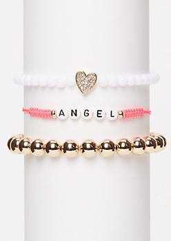 3-Pack Pink Angel Wish Bracelet Set