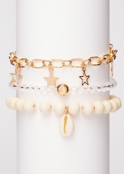 3-Pack Ivory Bead Bracelet Set