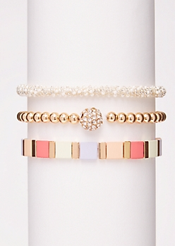 3-Pack Pastel Bead Bracelet Set