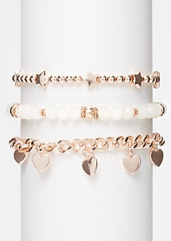 3-Pack Rose Gold Opal Heart Star Bracelet Set