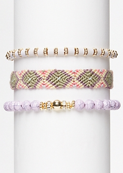 3-Pack Lavender Marble Friendship Bracelet Set