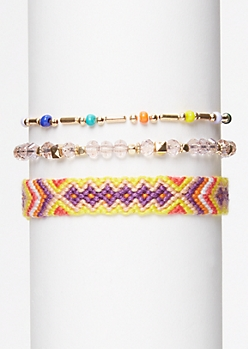 3-Pack Rainbow Beaded Friendship Bracelet Set