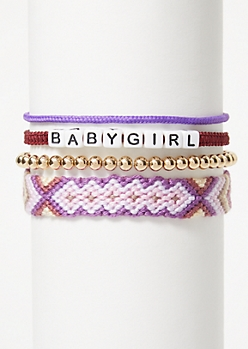 4-Pack Purple Braid Baby Girl Bracelet Set