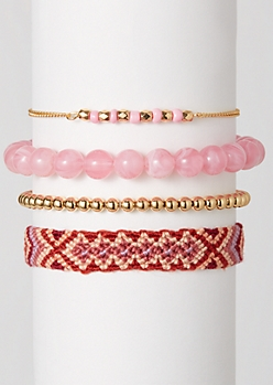 4-Pack Pink Braided Friendship Bracelet Set