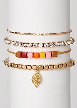 4-Pack Golden Bead Leaf Charm Bracelet Set