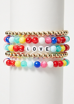 4-Pack Rainbow Love Bracelet Set