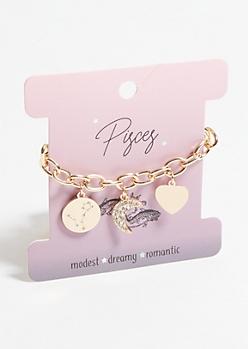 Gold Pisces Charm Bracelet