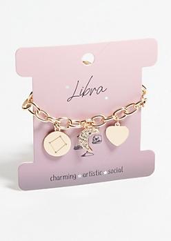 Gold Libra Charm Bracelet