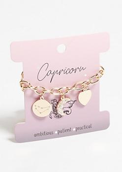 Gold Capricorn Charm Bracelet
