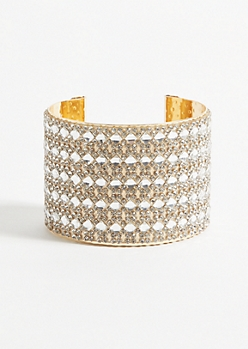 Diamond Gem Gold Cuff Bracelet
