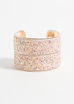 Pink Glitter Rose Gold Cuff Bracelet