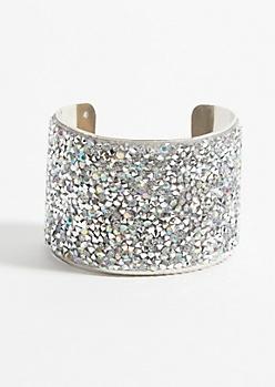 Iridescent Gem Silver Cuff Bracelet