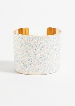 White Glitter Gold Cuff Bracelet