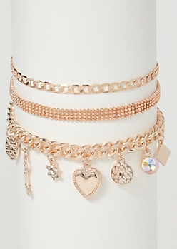 3-Pack Rose Gold Charm Bracelet Set