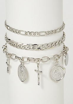 3-Pack Silver Cross Charm Bracelet Set