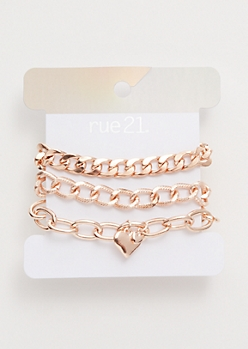 5-Pack Rose Gold Heart Charm Chain Bracelet Set
