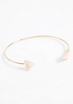 Rose Gold Feather Gem Cuff Bracelet