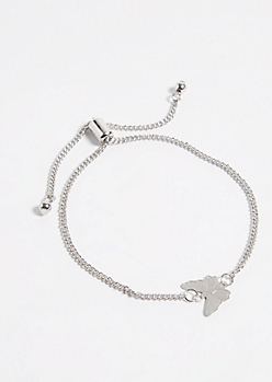 Silver Butterfly Charm Pull Chain Bracelet