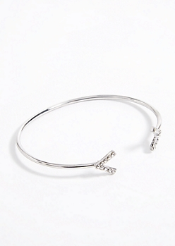 Silver Arrow Gem Cuff Bracelet