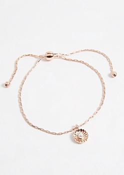 Rose Gold Daisy Charm Pull Chain Bracelet
