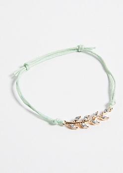 Mint Yarn Pull Chain Charm Bracelet