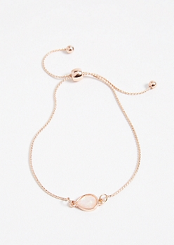Rose Gold Drop Gem Charm Pull Chain Bracelet