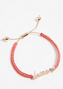 Coral Woven Pull Chain Dreamer Bracelet