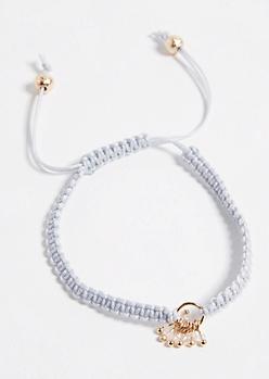 Gray Woven Pull Chain Charm Bracelet