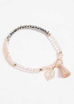 Pink Leaf and Tassel Charm Stretch Bracelet