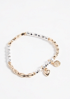 Bead Heart and Coin Charm Stretch Bracelet