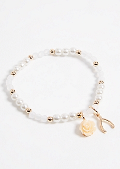 Pearl Rose and Wishbone Charm Stretch Bracelet