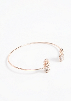 Rose Gold Pineapple Gem Cuff Bracelet