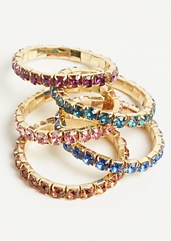 5-Pack Gemstone Stretch Bracelet Set