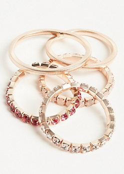 5-Pack Rose Gold and Pink Gem Stretch Bracelet Set
