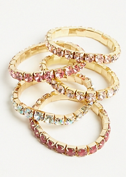 5-Pack Pink Gem Stretch Bracelet Set