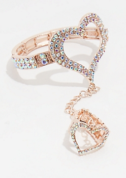 Rose Gold Iridescent Heart Bracelet and Ring Set