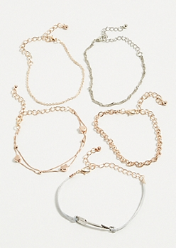 5-Pack Mixed Arrow Heart Chain Bracelet Set