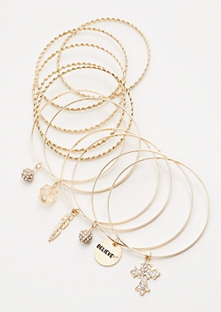 12-Pack Gold Believe Charm Bangle Set