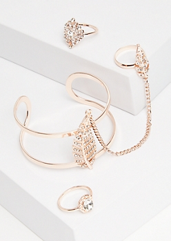 4-Pack Rose Gold Leaf Bracelet to Ring Jewelry Set