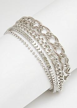 Silver Rhinestone Layered Chain Bracelet