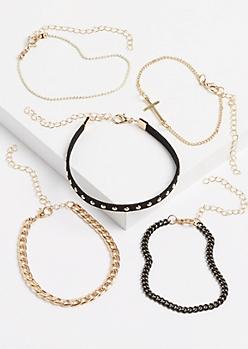 5-Pack Cross & Studded Chain Bracelet Set