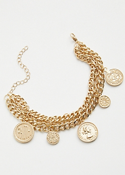 Gold Faith Coin Chain Charm Bracelet