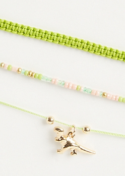 3-Pack Green T-Rex Spirit Animal Bracelet Set