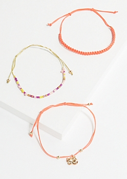 3-Pack Coral Cat Spirit Animal Bracelet Set