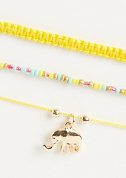 3-Pack Yellow Elephant Spirit Animal Bracelet Set
