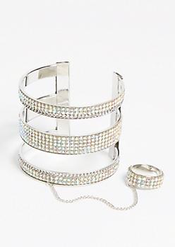 Silver Rhinestone Cuff Bracelet Ring Set