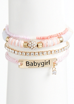 4-Pack Pink Beaded Baby Girl Bracelet Set